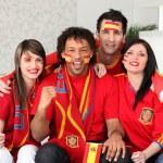 Four Spanish sports fans — Stock Photo #9827042