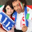 Two Italy supporters sat at home — Stock Photo #9827224