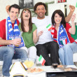 Italian football fans celebrating — Stock Photo