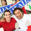 Group of Italian sports fans — Stock Photo