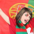 Woman supporting the Portuguese football team — Stock Photo #9827503