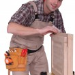 Stock Photo: Carpenter fixing closet door.