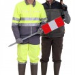 Full-length portrait of bricklayer and carpenter — Stock Photo #9956629