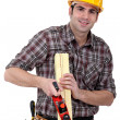 Woodworker working with rasp — Stock Photo #9957442