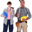 Two construction workers posing together — Stock Photo