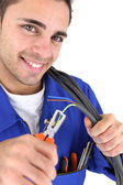 Electrician using pliers — Stock Photo