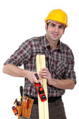 Woodworker working with a rasp — Stock Photo