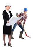 Businesswoman and craftswoman posing together — Stock Photo