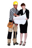 Architect and foreman collaborating on project — Stock Photo