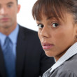 Concerned businesswoman and colleague — Stock Photo #9960385