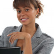 Young woman in front of a computer — Stock Photo #9961018