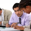 Businesspeople writing notes — Stock Photo