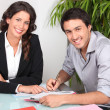 Stock Photo: Customer signing contract agreement