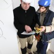 Electrician training apprentice — Stock Photo