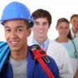 Stock Photo: Four workers with different professions