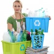 Blond woman recycling — Stock Photo #9968650