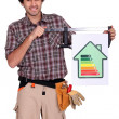 Craftsman shows house with energy rating - Stock Photo