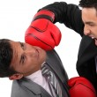 Two businessmen boxing — Stock Photo