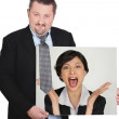 Businessman with a picture of a woman shouting — Stock Photo