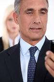 Closeup of a man watching his cellphone — Stock Photo