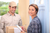 Man delivering parcel — Foto Stock