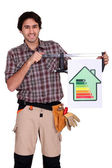 Craftsman shows house with energy rating — Stock Photo