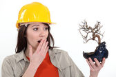 Ecologist upset by burnt tree — Stock Photo