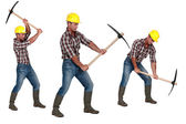 Multiple image of man with pick-ax — Stock Photo
