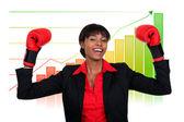 Empresaria con guantes de boxeo — Foto de Stock