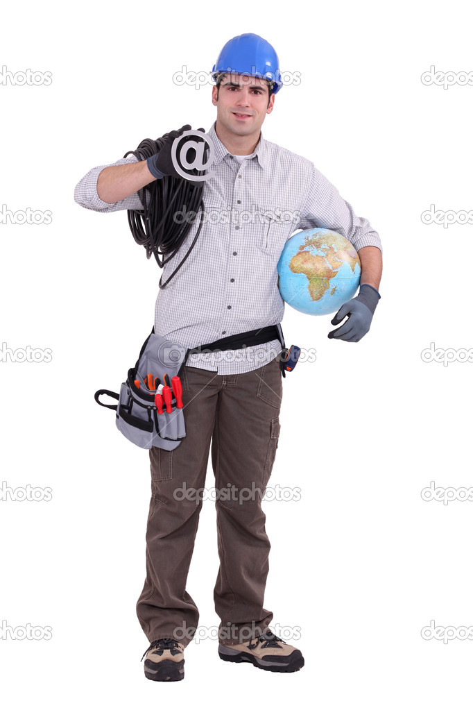 Electrician stood holding globe — Stock Photo #9968856