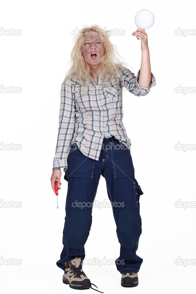 Woman getting an electric shock — Stock Photo #9969548