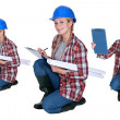 Female architect crouching — Stock Photo #9970024