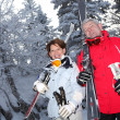 Stock Photo: Couple skiing