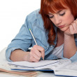 Stock Photo: Young womcompleting her homework