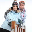 Couple at ski resort — Stock Photo