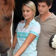 Teens with horse — Stock Photo