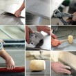 Montage of tiler at work - Stock Photo
