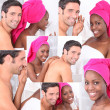 Mosaic of couple getting ready in the bathroom - Foto Stock