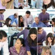 Collage of busy office employees — Foto de Stock
