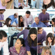 Collage of busy office employees — Stok fotoğraf