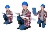 Female architect crouching — Stock Photo