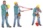 Handyman with different tools — Stock Photo