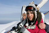 Two woman having a good time on skiing holiday — Stock Photo