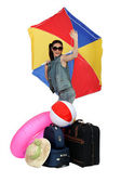 Woman leaving on a beach holiday — Stock Photo