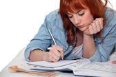 Young woman completing her homework — Stock Photo