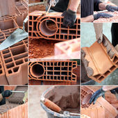 Bricklaying montage — Stock Photo