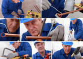 Collage of a tradesman — Stock Photo