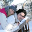 Happy couple at ski resort — Stock fotografie #9993756