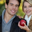 Couple out picking apples — Stock Photo