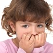 Scared little girl biting nails — Stok Fotoğraf #9996005
